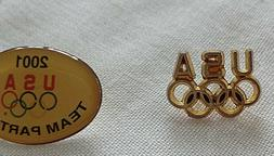 2X USA Olympic Rings Pin Tie Tack Lapel 2001 Team Partner Co