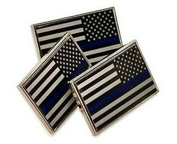 3 Pack of Thin Blue Line American Flag Police Support Lapel