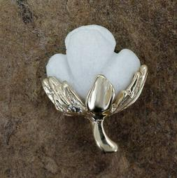 Handmade Cotton Boll Tie tack or Lapel Pin With White Cotton