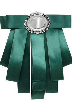 DESIGNER INSPIRED GREEN WITH STONE DETAIL BOW TIE RIBBON PIN