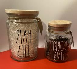 RAE DUNN  Hair Ties And Bobby Pins  Glass Containers With Wo