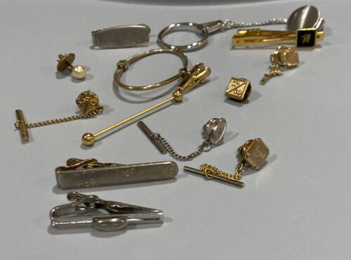 vintage lot of tie pins clips clasps