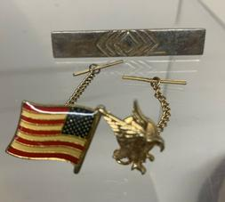 Lot Of 3 Mans Tie Tacks Pins Tie Clips Flag, Eagle And A Bar