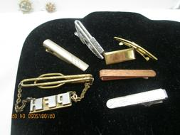 Lot of Vintage Tie Clasps. Goldtone, Silver, Anson , Pin< Mo