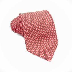Brooks Brothers Makers Mens Tie Orange Navy Pin Dot 100% Sil