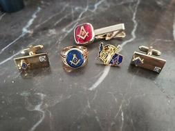 MASONIC 10kt RING...GOLD FILLED CUFF LINKS ...TIE TACK...AND