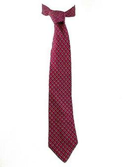 Men's Silk Neck Tie Burgundy with Navy & Gray Pin Dot Floral