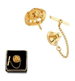 Men Gold Tone Openwork Abstract Flower Tie Tac Tack Pin Gift