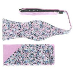 Tommy Hilfiger Mens Pink Pocket Square Floral Party Bow Tie