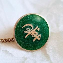 Middle Eastern? Unknown Maker Brass Tie Pin Tack Green Ename