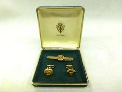 Gucci Old Necktie Pin Cufflinks Set Gold There Is Rust Behin