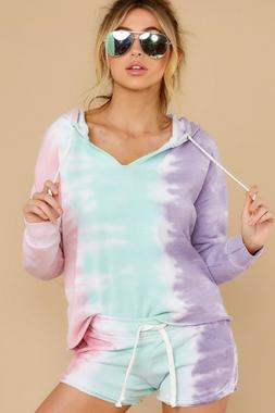 Boardwalk Purple Pink and Mint Tie Dye V Neck Hoodie and Sho