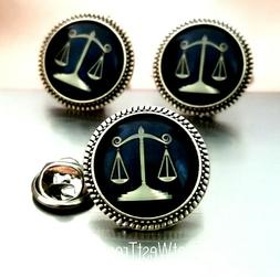 Scales Of Justice Cufflinks, Tie Pin tack brooch, Law Gift f