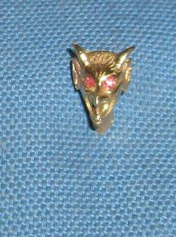 SOLID 14K YELLOW GOLD DEVIL FACE TIE TAC PIN W RUBBIES- 2.7
