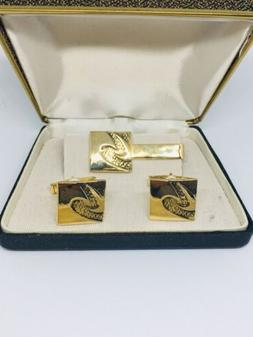 Tie Bar Clip Pin And Cuff Links With Original Gift Box Stamp