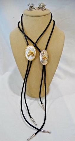 Two Brass Horse Bolo Ties and Two Scarf/Bandana Pins