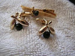 Vintage Anson Cufflinks and Tie Clip Tack Clasp Bowling Pins