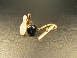 Vintage Figural Bowling Ball and Pins Yellow Gold Plated Tie