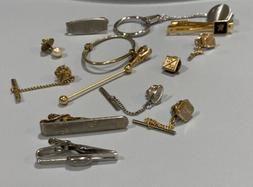 Vintage Lot Of Tie Pins Clips Clasps Tack Swank