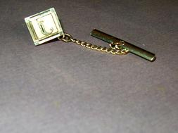 """Vintage Mens Gold Square with """"J"""" Initial Tie Tac Pin..great"""