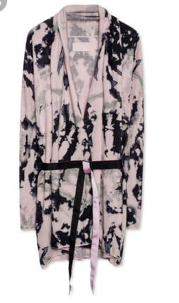 Zadig & Voltaire Rona Pink Tie Dye Wool Cashmere Belted Card